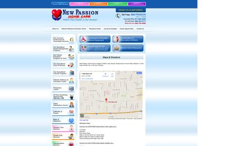 Screenshot of Maps & Directions Page newpassionhomecare.com - New Passion Home Care - captured Oct. 1, 2014