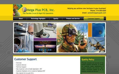Screenshot of Support Page megapluspcb.com - Customer Support :Mega Plus PCB Inc - captured Oct. 27, 2014