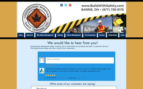 Screenshot of Testimonials Page buildwithsafety.com - Safety Training | Construction Wokplace Safety | Barrie, On | Testimonials - captured Sept. 29, 2018