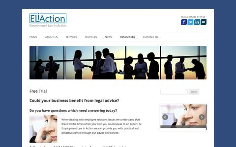 Screenshot of Trial Page eliaction.com - Free Trial | ELiAction - captured Jan. 28, 2016