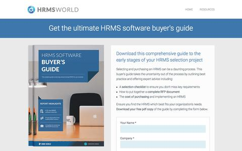 Screenshot of Landing Page hrmsworld.com - The ultimate HRMS software buyer's guide - Free Guide from HRMS World - captured March 5, 2018