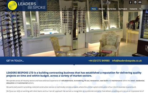 Screenshot of Home Page leadersbespoke.com - Leaders Bespoke | A Tailored Construction Service - captured Oct. 2, 2014