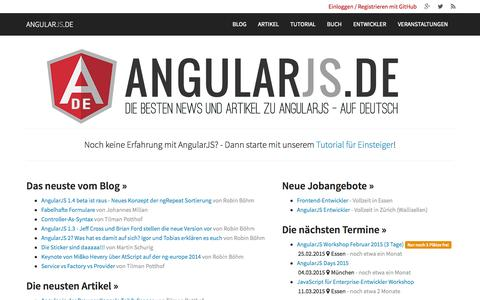 Screenshot of Home Page angularjs.de - AngularJS.DE → Das deutsche Portal zu AngularJS - captured Jan. 23, 2015