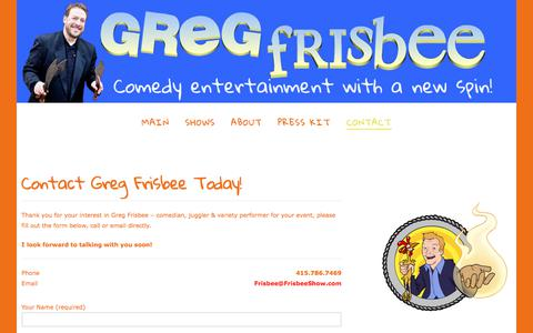Screenshot of Contact Page frisbeeshow.com - Contact Greg Frisbee Comedy Juggling & Variety Today! - captured Sept. 24, 2017