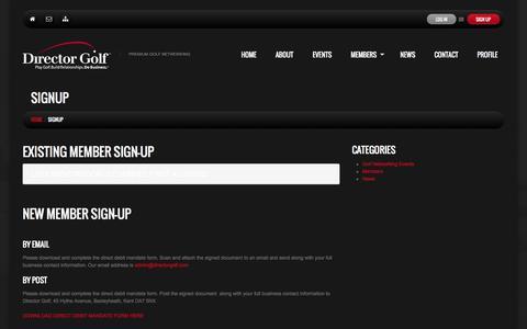 Screenshot of Signup Page directorgolf.com - Signup  |  Director Golf - captured Oct. 5, 2014