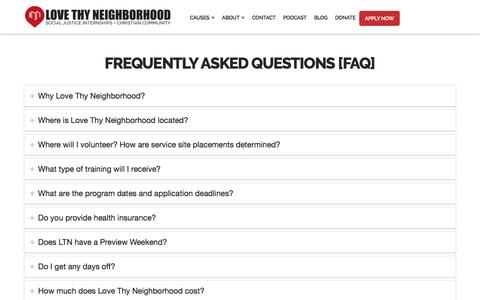 Screenshot of FAQ Page lovethyneighborhood.org - Frequently Asked Questions (FAQ) – Love Thy Neighborhood - captured May 23, 2017