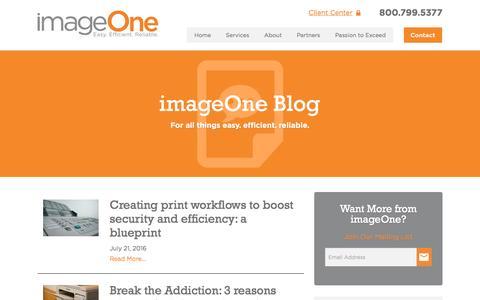 Screenshot of Blog imageoneway.com - imageOne Blog - captured Nov. 18, 2016