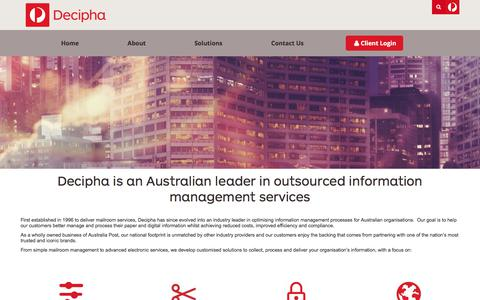 Screenshot of About Page decipha.com.au - About Decipha | Outsourced Information Management - captured Aug. 6, 2018