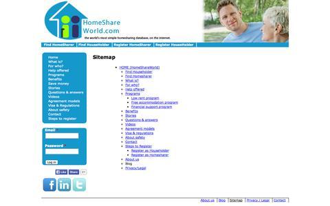 Screenshot of Site Map Page homeshareworld.com - Sitemap | homeshareworld.com ¦ the world's most simple homesharing database, on the internet. - captured Oct. 2, 2014