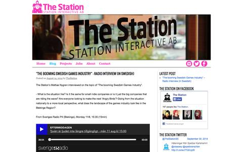 Screenshot of Blog station-interactive.com - Blog | The Station - captured Oct. 1, 2014