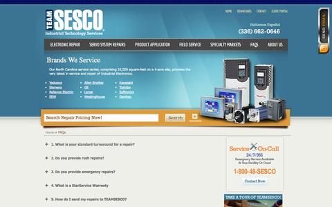 Screenshot of FAQ Page teamsesco.com - FAQ - Servo Repair, PLC Repair, Power Supply Repair - TEAMSESCO - captured Oct. 7, 2014