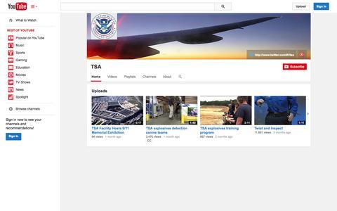 Screenshot of YouTube Page youtube.com - TSA  - YouTube - captured Oct. 23, 2014