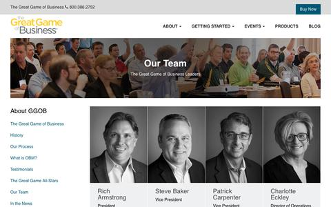 Screenshot of Team Page greatgame.com - About - Our Team | The Great Game of Business - captured April 17, 2018