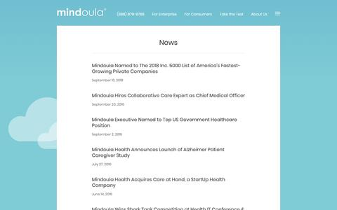Screenshot of Press Page mindoula.com - News | Mindoula Health, Inc. - captured Oct. 18, 2018