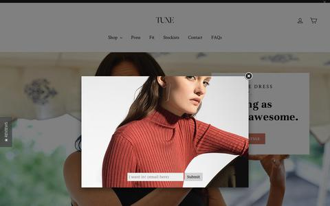 Screenshot of Home Page tuxebodywear.com - Tuxe® – TUXE - captured Oct. 22, 2018