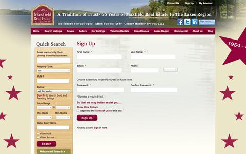 Screenshot of Signup Page maxfieldrealestate.com - Sign Up - captured Oct. 27, 2014