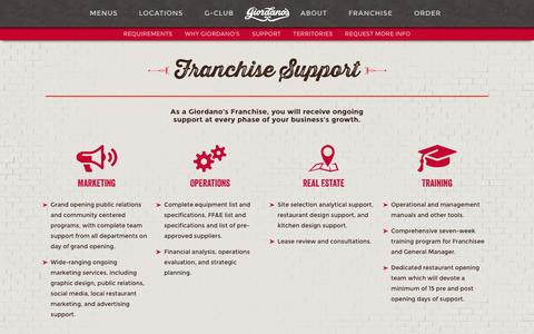 Screenshot of Support Page giordanos.com - Giordano's Franchise | Operations Support & Training - captured Nov. 7, 2016
