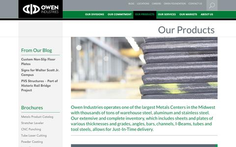 Screenshot of Products Page owenind.com - Plate Steel, Sheet Steel & Aluminum Sheets | Owen Industries - captured Dec. 17, 2016