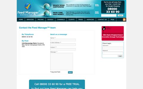 Screenshot of Contact Page feedmanagerusa.com - Contact Feed Manager - captured Oct. 5, 2014