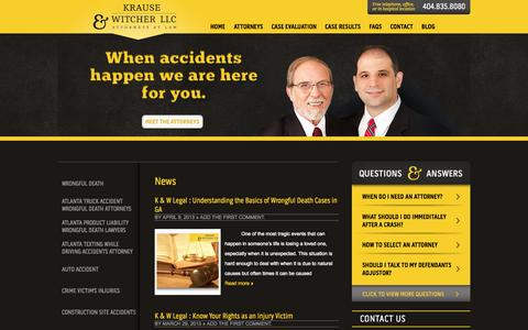 Screenshot of Press Page kgwlegal.com - News | Atlanta Wrongful Death Attorney and Lawyers - captured Oct. 6, 2014