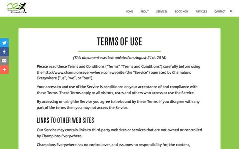 Screenshot of Terms Page championseverywhere.com - Terms of Use - ChampionsEverywhere - captured May 16, 2017