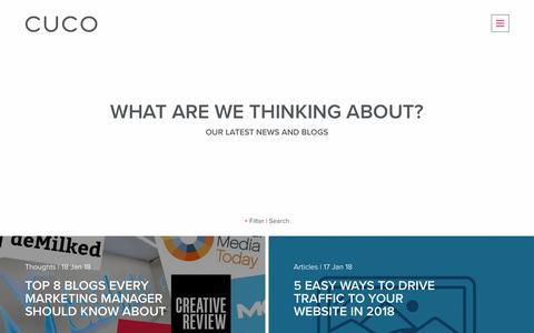 Screenshot of Blog cucocreative.co.uk - Thinking | CuCo Creative | Branding, Marketing & Digital Agency, Bournemouth - captured Jan. 18, 2018