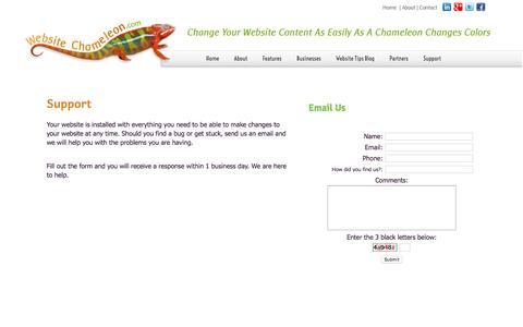 Screenshot of Support Page websitechameleon.com - Website Chameleon Support | Help with your Content Managment System - captured Jan. 10, 2016