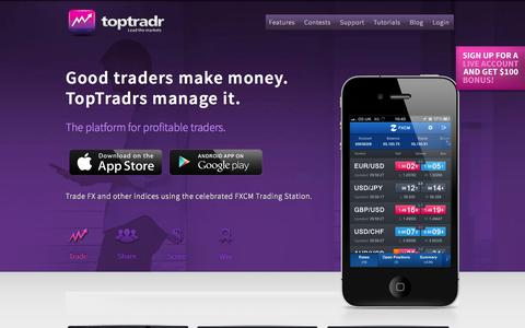 Screenshot of Home Page toptradr.com - TopTradr App. The platform for profitable traders - Home - captured Sept. 25, 2014