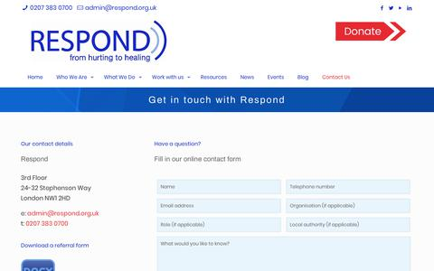 Screenshot of Contact Page respond.org.uk - Contact Us   Respond - captured July 21, 2019