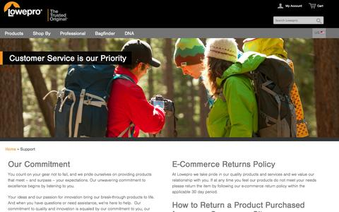 Screenshot of Support Page lowepro.com - Lowepro | Support - captured Sept. 12, 2014