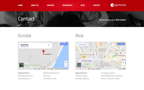 Screenshot of Contact Page argumenta.com - Contact argumenta contact page - captured Oct. 8, 2017
