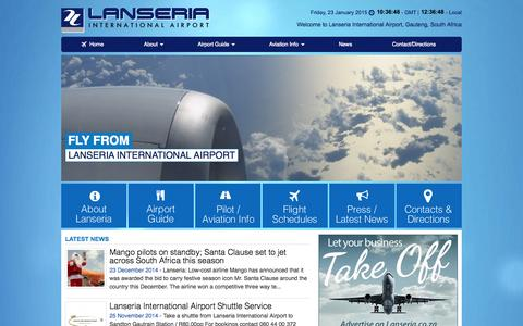 Screenshot of Home Page lanseria.co.za - Lanseria Airport | Home - captured Jan. 23, 2015