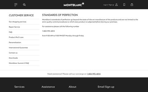 Screenshot of Support Page montblanc.com - Customer Service - captured Nov. 15, 2018
