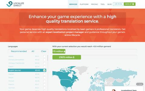 Screenshot of Services Page localizedirect.com - Translation Services | Professional game localization by Localize Direct - captured July 4, 2016
