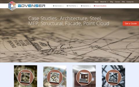 Screenshot of Case Studies Page advenser.com - BIM Case Study- Architectural, Structural, MEP, Facade, Point cloud - captured June 25, 2017