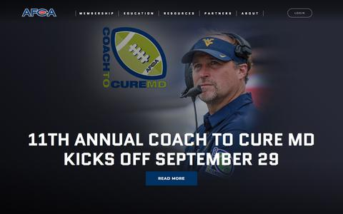 Screenshot of Contact Page afca.com - · American Football Coaches Association - captured Sept. 22, 2018
