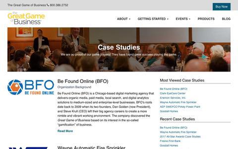 Screenshot of Case Studies Page greatgame.com - Case Studies - The Great Game of Business The Great Game of Business - captured April 17, 2018