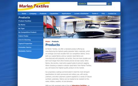 Screenshot of Products Page marlentextiles.com - Marlen Textiles | Coated & Solution Dyed Fabrics for Boat Covers, Bimini Tops, Awnings & More - captured Oct. 17, 2017