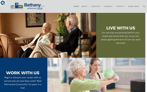 Screenshot of Home Page bethanynd.org - Home | Bethany Retirement Living - captured Oct. 10, 2017