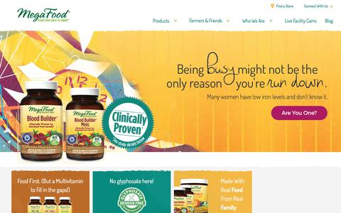 Screenshot of Home Page megafood.com - Farm Fresh Multivitamin Vitamin Dietary Supplements - captured Nov. 5, 2017