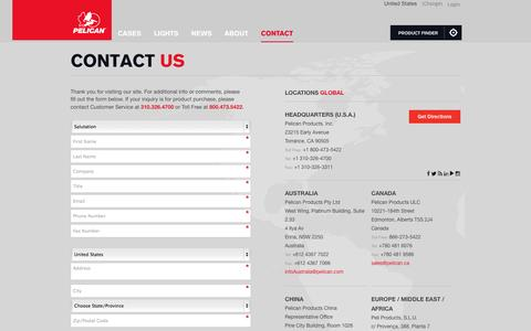 Screenshot of Contact Page pelican.com - Contact Us - captured Oct. 10, 2014