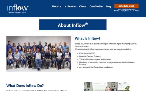 Screenshot of About Page goinflow.com - About Inflow – eCommerce Marketing Agency - Denver, CO - captured Nov. 30, 2018