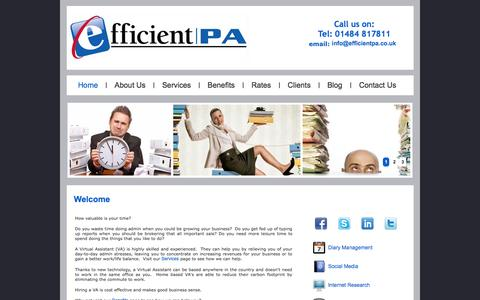 Screenshot of Home Page efficientpa.co.uk - Virtual Assistant | Huddersfield - Efficient PA - captured Sept. 29, 2014