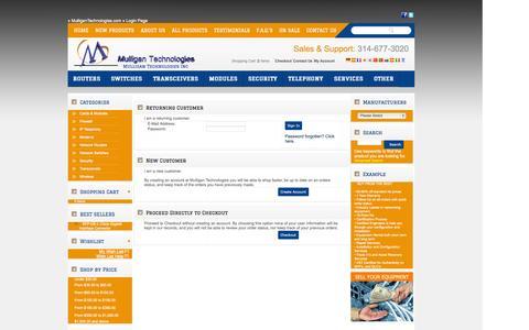 Screenshot of Login Page mulligantechnologies.com captured Oct. 7, 2014