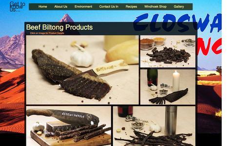 Screenshot of Products Page closwa.com - Closwa Biltong Products - captured Nov. 7, 2016