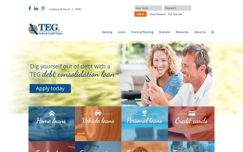 Screenshot of Home Page tegfcu.com - TEG Federal Credit Union – Personal & Business Loans, Free Checking: Poughkeepsie, Newburgh, NY: TEG Federal Credit Union - captured Feb. 16, 2016