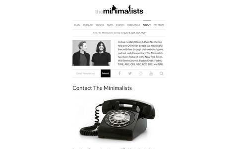 Screenshot of Contact Page theminimalists.com - Contact The Minimalists | The Minimalists - captured Jan. 14, 2020