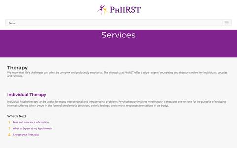 Screenshot of Services Page phiirst.com - Services - Phiirst - captured Nov. 10, 2018