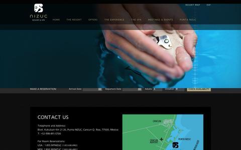 Screenshot of Contact Page nizuc.com - Spa Resort | Contact Us | Nizuc - captured Sept. 24, 2014