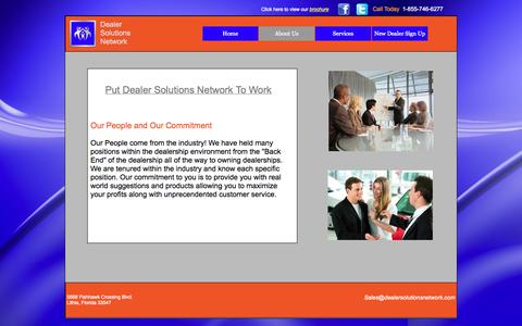 Screenshot of About Page dealersolutionsnetwork.com - About Us - captured Oct. 5, 2014